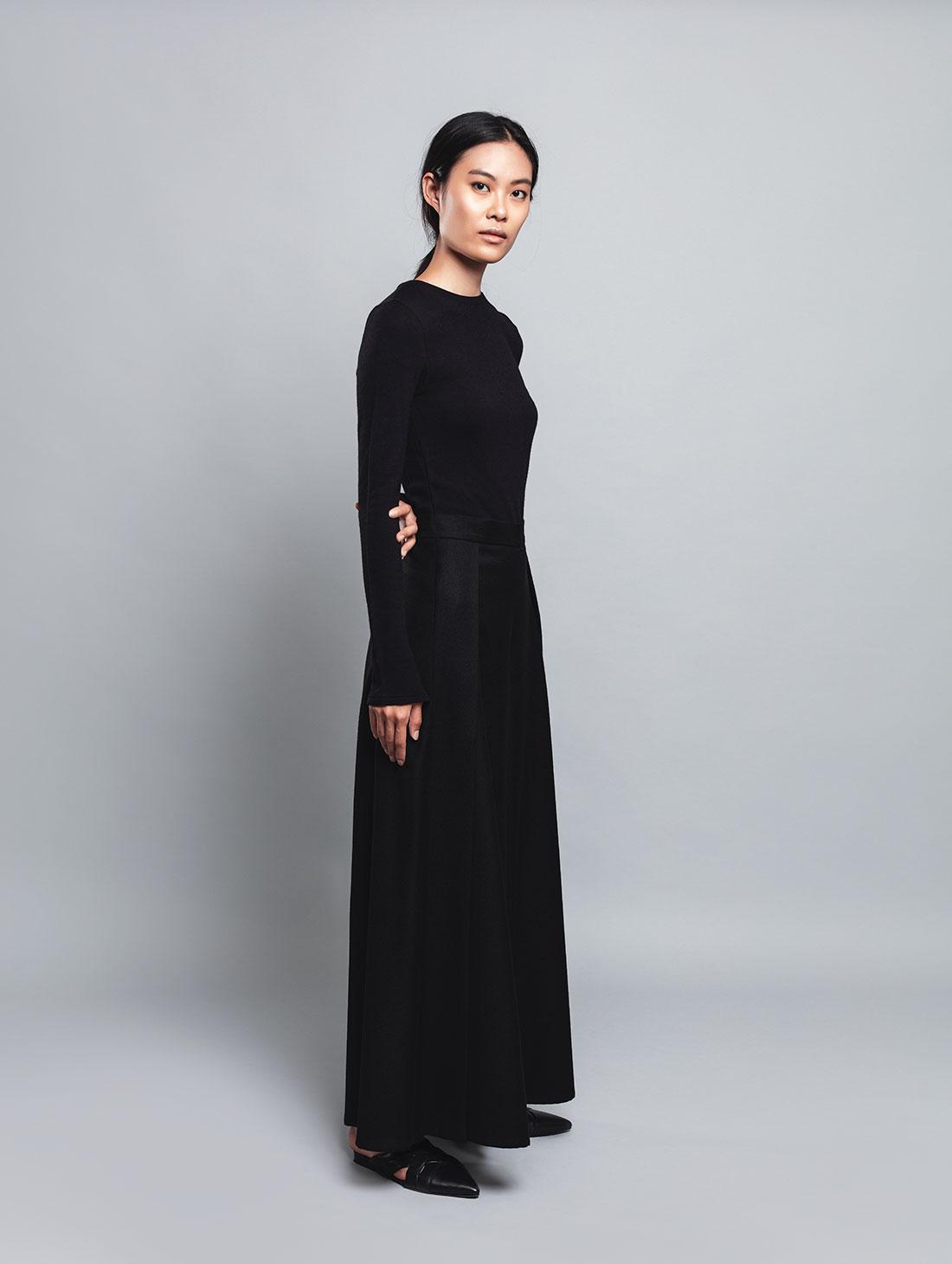 Kalgan – Pantalone Nero, Vita Alta, 100% Lana