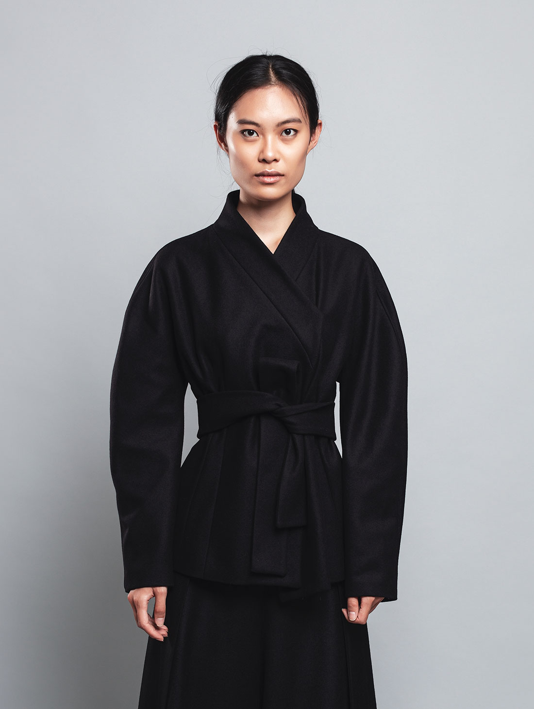 Draxis – Giacca a Kimono Nera, 100% Lana