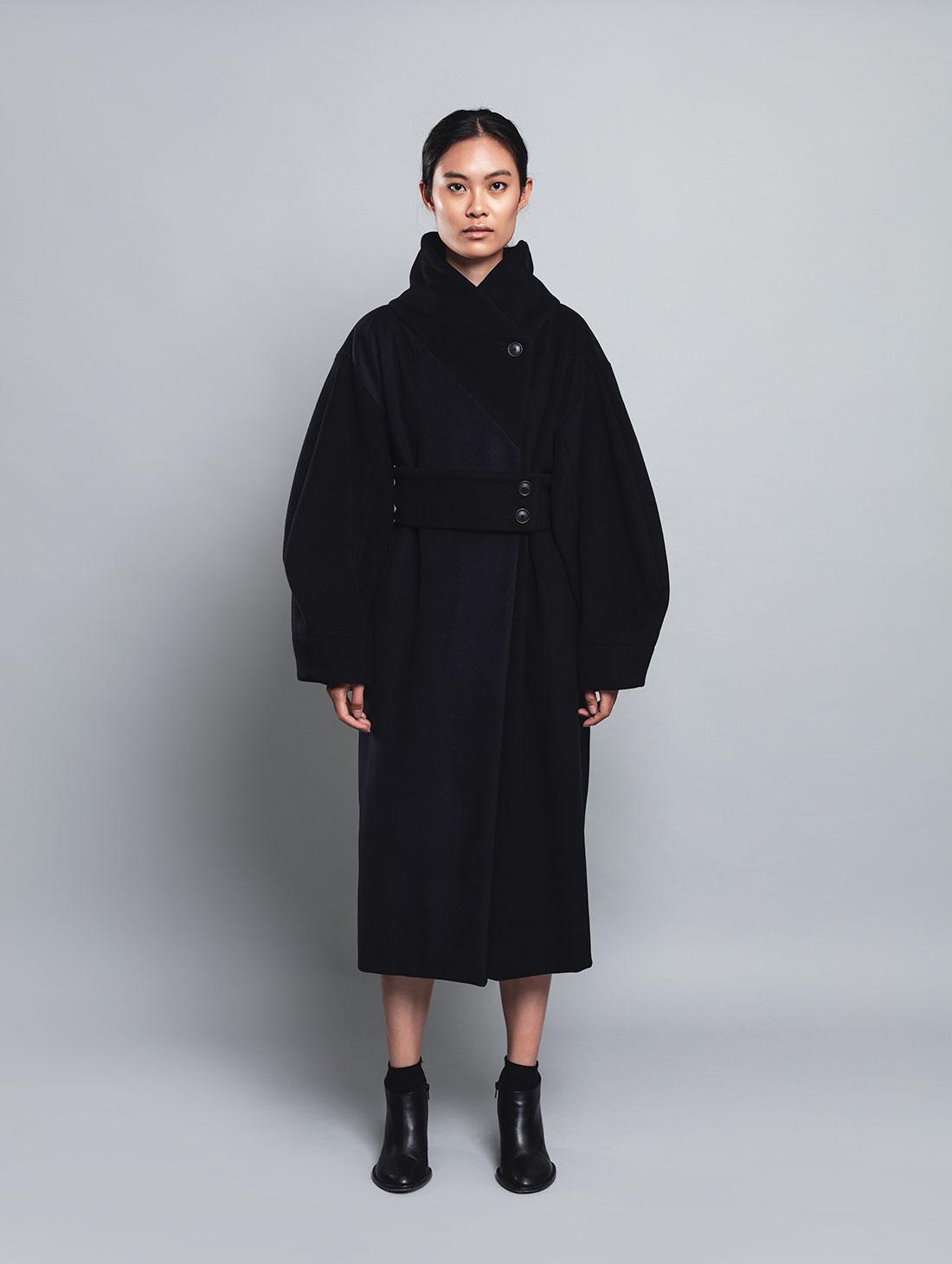 Ark – Cappotto Bicolore Stile Kimono, 100% Lana